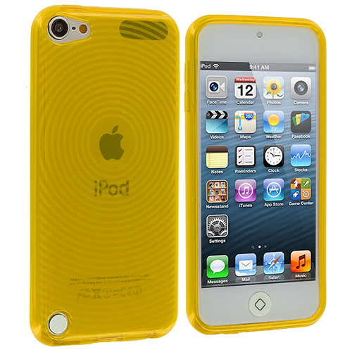 Apple iPod Touch 5th Generation 5G 5 Yellow Fingerprint TPU Rubber Skin Case Cover