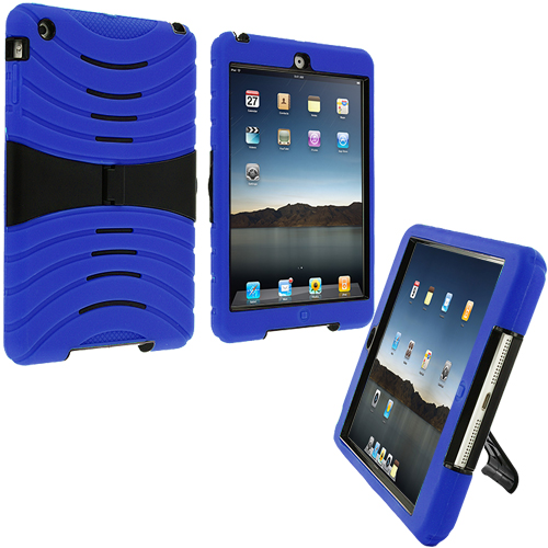 Apple iPad Mini Blue Rugged Hybrid Heavy Duty Hard/Soft Case Cover with Stand
