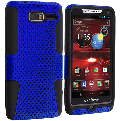 Motorola Droid Razr M XT907 Black / Blue Hybrid Mesh Hard/Soft Case Cover