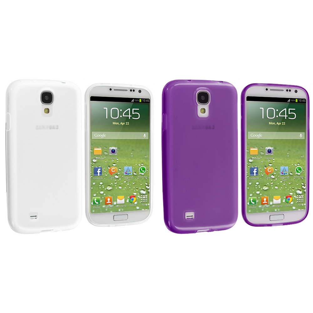 Samsung Galaxy S4 2 in 1 Combo Bundle Pack - Clear Purple Plain TPU Rubber Skin Case Cover