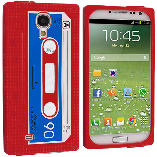 Samsung Galaxy S4 Red Cassette Silicone Soft Skin Case Cover