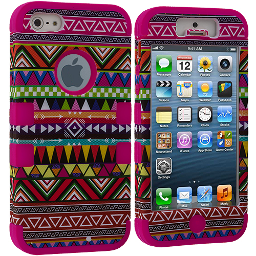 Apple iPhone 5/5S/SE Hot Pink Tribal Hybrid Tuff Hard/Soft 3-Piece Case Cover