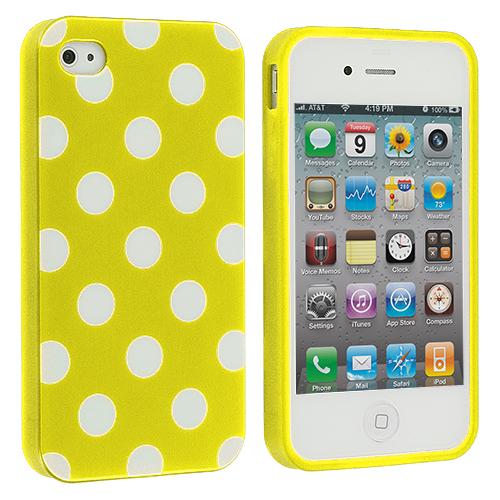 Apple iPhone 4 / 4S Yellow / White TPU Polka Dot Skin Case Cover