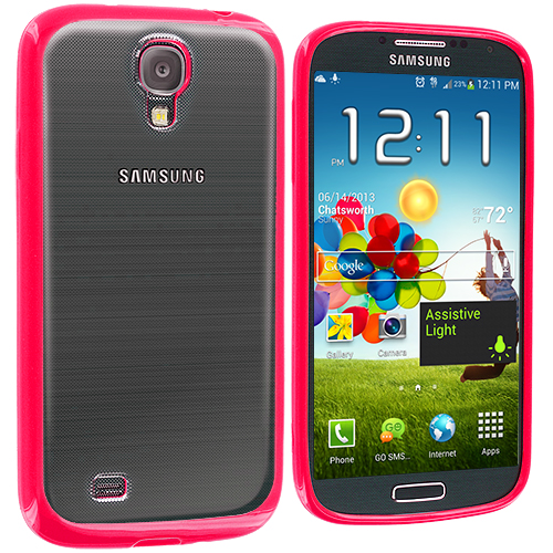 Samsung Galaxy S4 2 in 1 Combo Bundle Pack - Pink White TPU Plastic Hybrid Case Cover : Color Pink