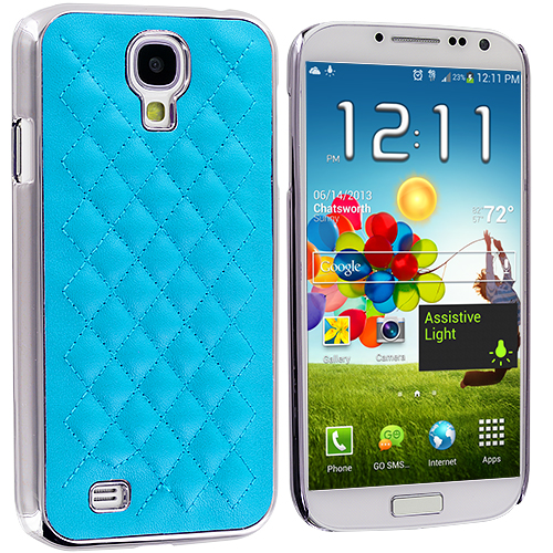 Samsung Galaxy S4 Baby Blue Leather Metal Quilted Hard/Soft Case Cover