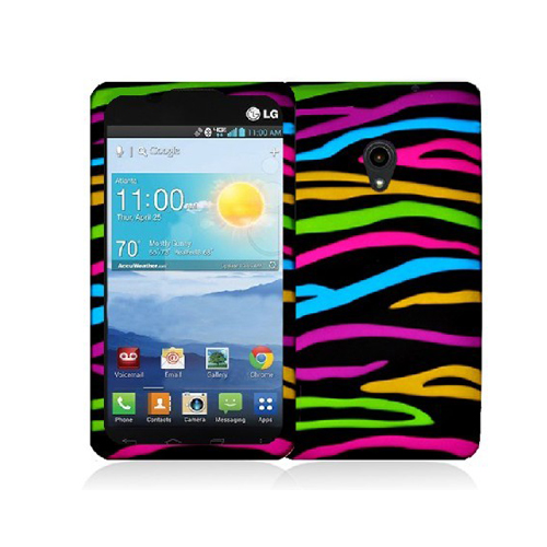 LG Lucid 2 VS870 Rainbow Zebra on Black Hard Rubberized Design Case Cover