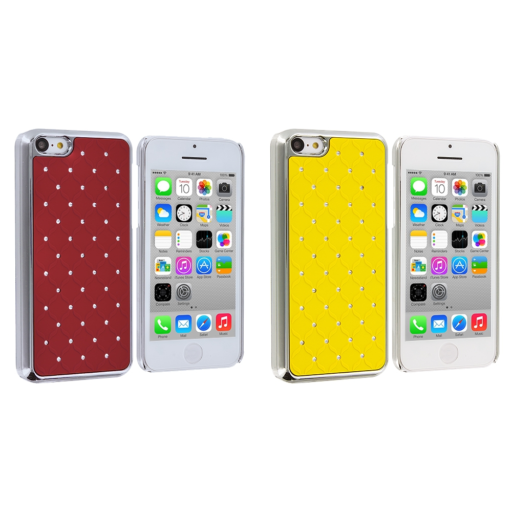 Apple iPhone 5C 2 in 1 Combo Bundle Pack - Yellow Red Hard Rubberized Diamond