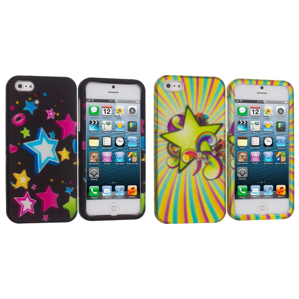 Apple iPhone 5/5S/SE 2 in 1 Combo Bundle Pack - Colorful Shooting Star Hard Rubberized Design Case Cover