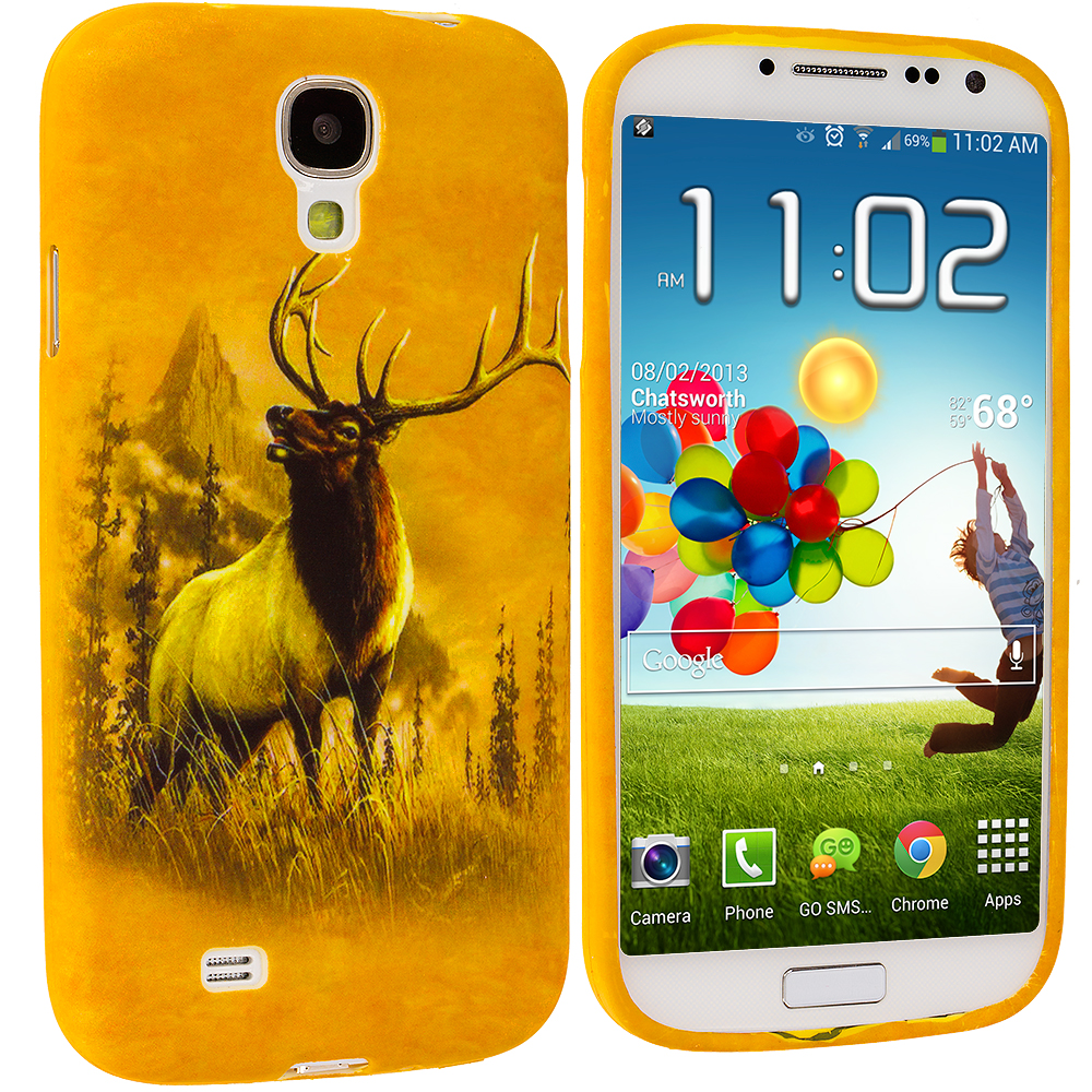 Samsung Galaxy S4 4 in 1 Combo Bundle Pack - Animals TPU Design Soft Case Cover : Color Deer