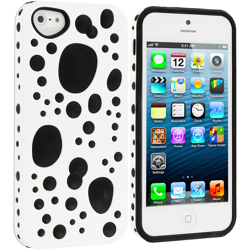Apple iPhone 5/5S/SE Combo Pack : Black / White Hybrid Bubble Hard/Soft Skin Case Cover : Color White / Black