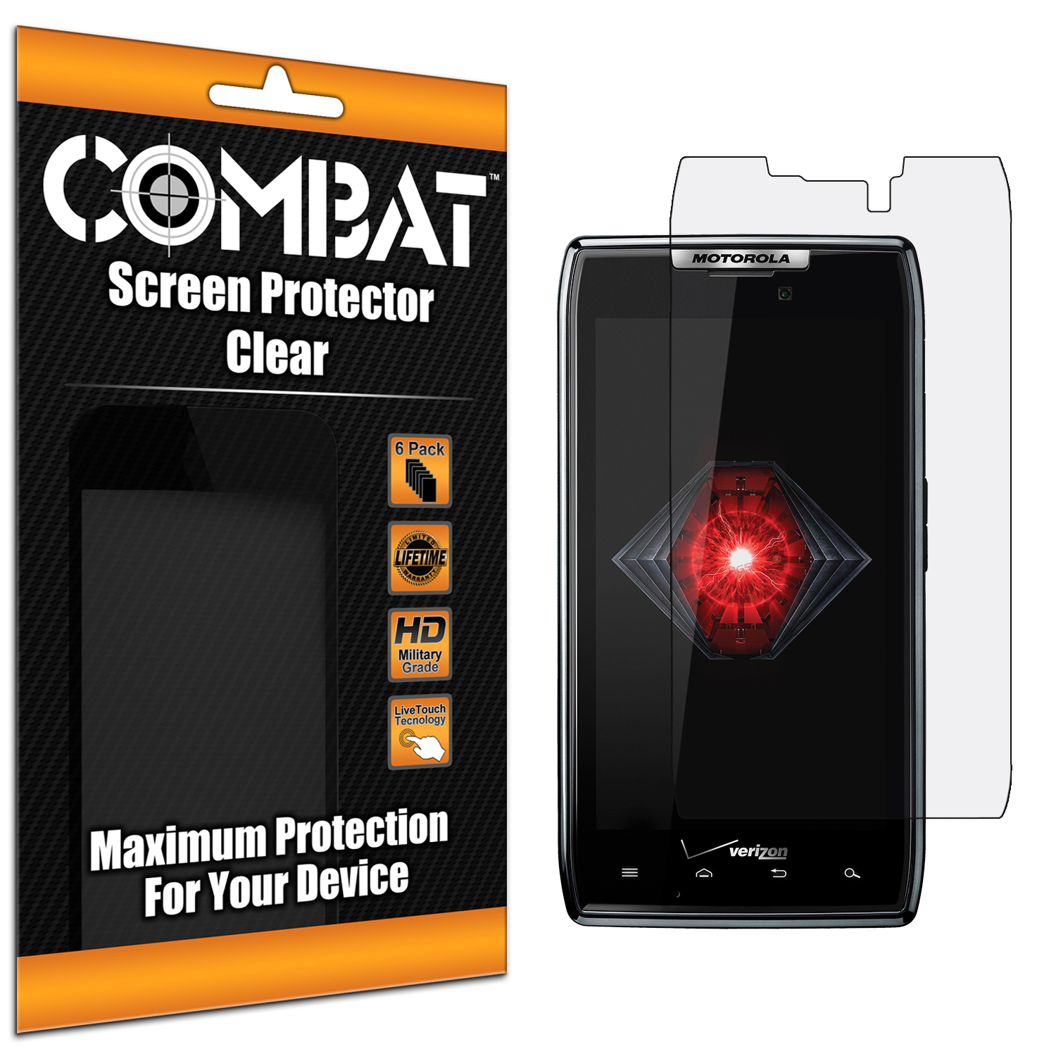 Motorola Droid Razr XT912 Combat 6 Pack HD Clear Screen Protector