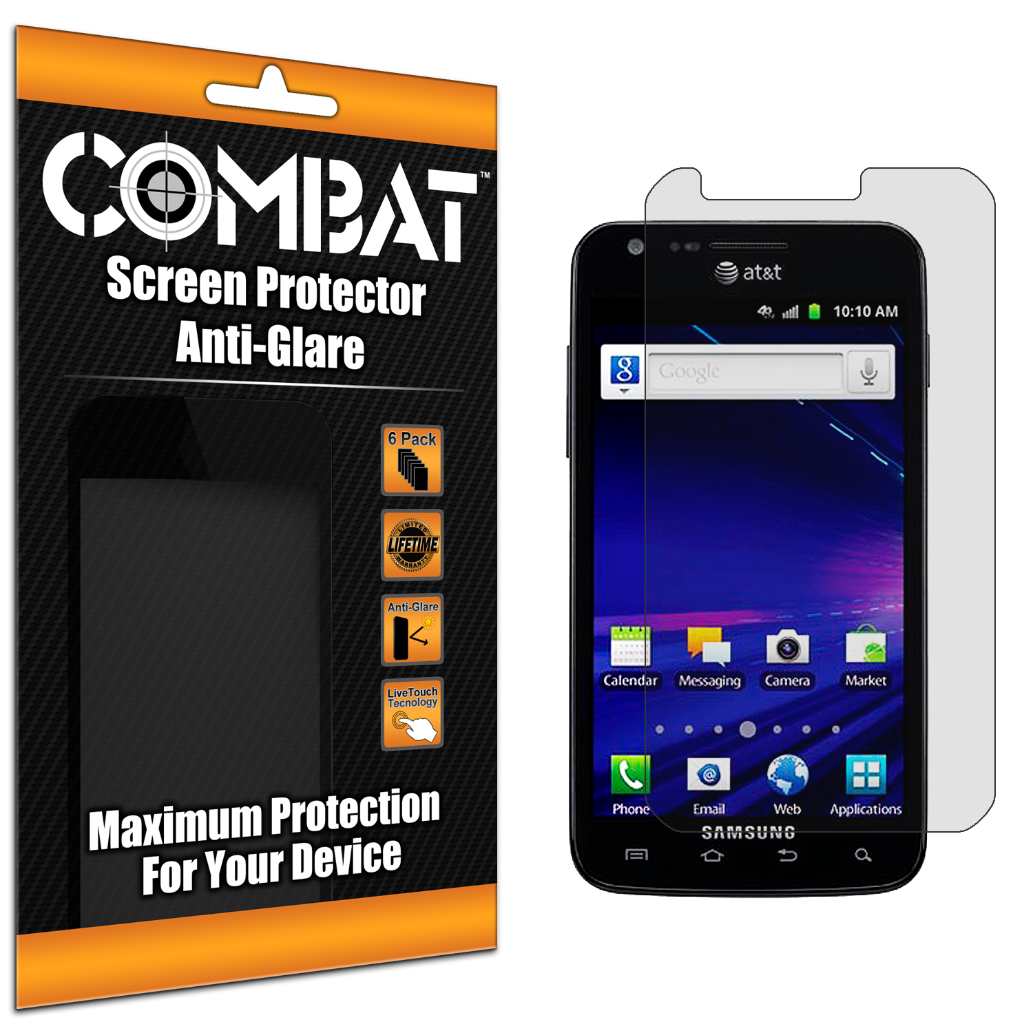 Samsung Skyrocket i727 Combat 6 Pack Anti-Glare Matte Screen Protector