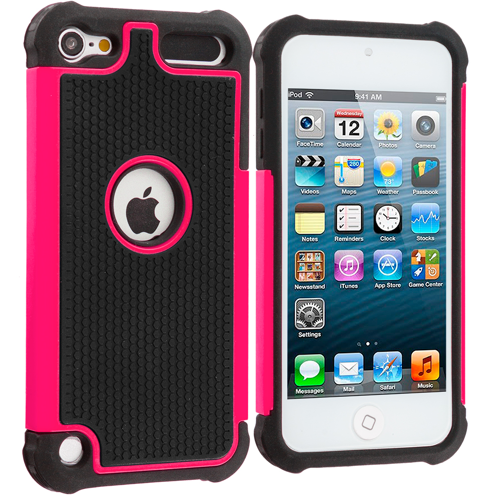Apple iPod Touch 5th 6th Generation Black / Hot Pink Hybrid Rugged Hard/Soft Case Cover