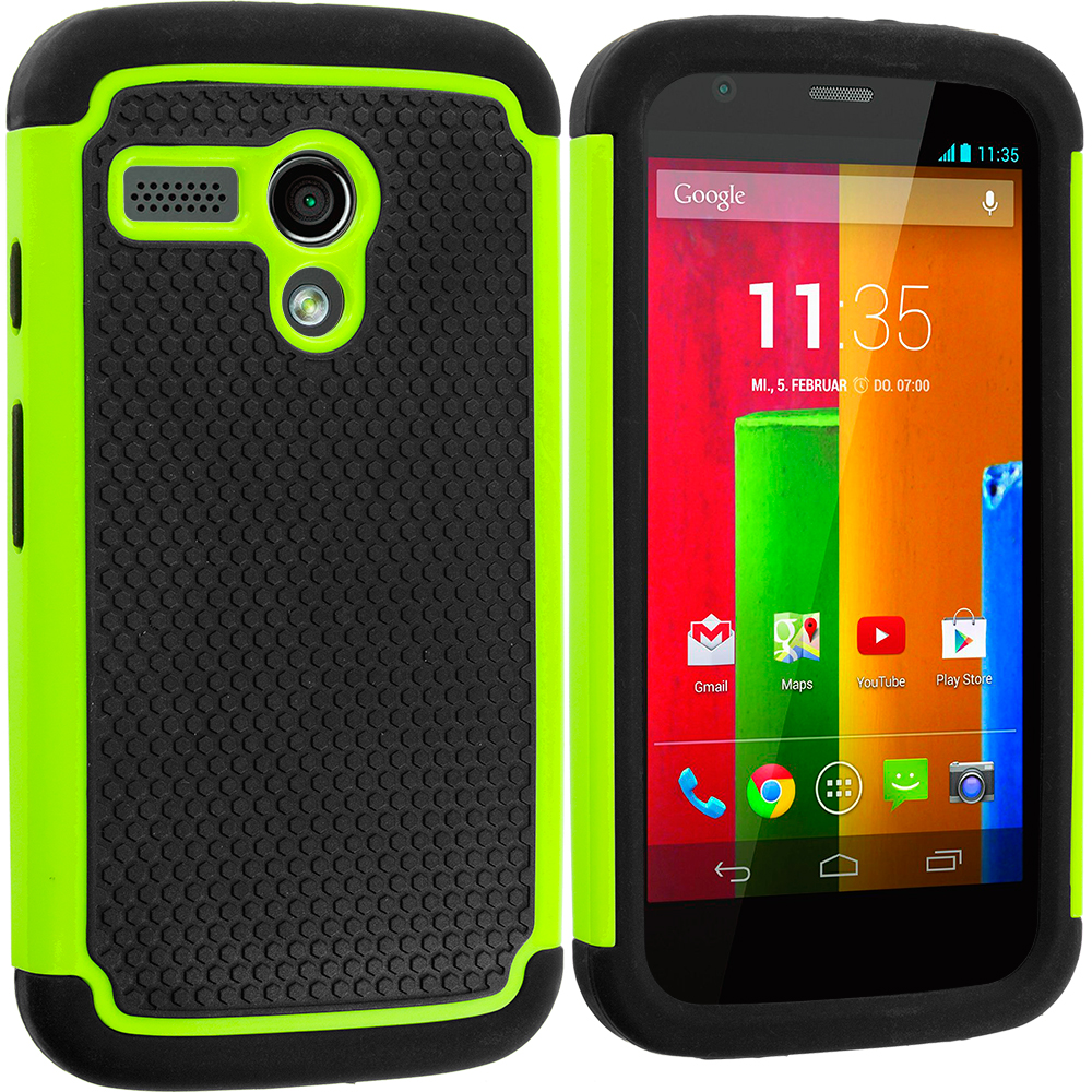 Motorola Moto G 2 in 1 Combo Bundle Pack - Black / Green Hybrid Rugged Hard/Soft Case Cover : Color Black / Neon Green