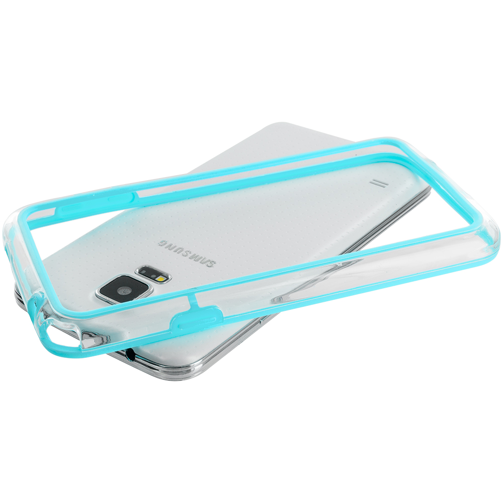 Samsung Galaxy S5 Baby Blue / Clear TPU Bumper Frame Case Cover