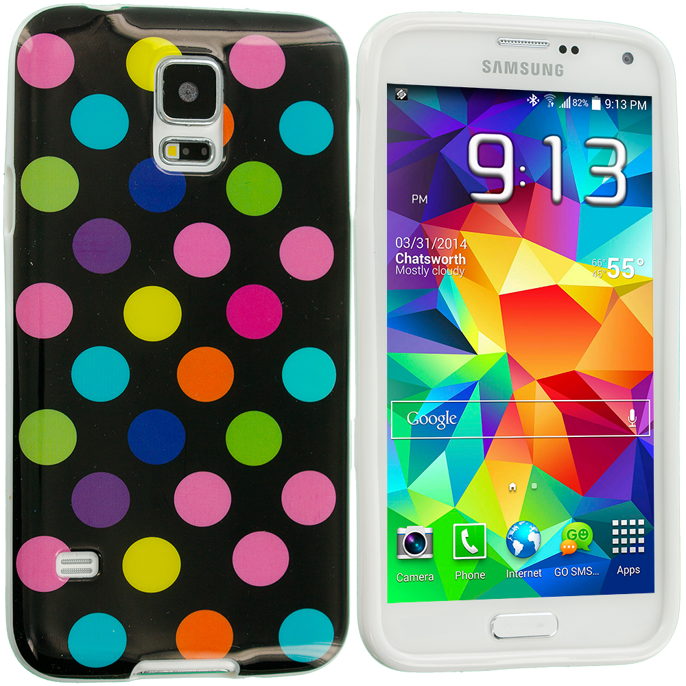 Samsung Galaxy S5 Black / Colorful TPU Polka Dot Skin Case Cover