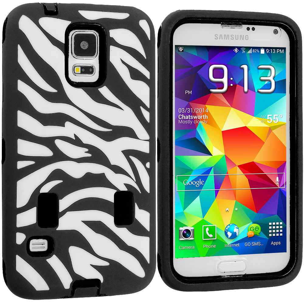 Samsung Galaxy S5 Black Hybrid Zebra 3-Piece Case Cover