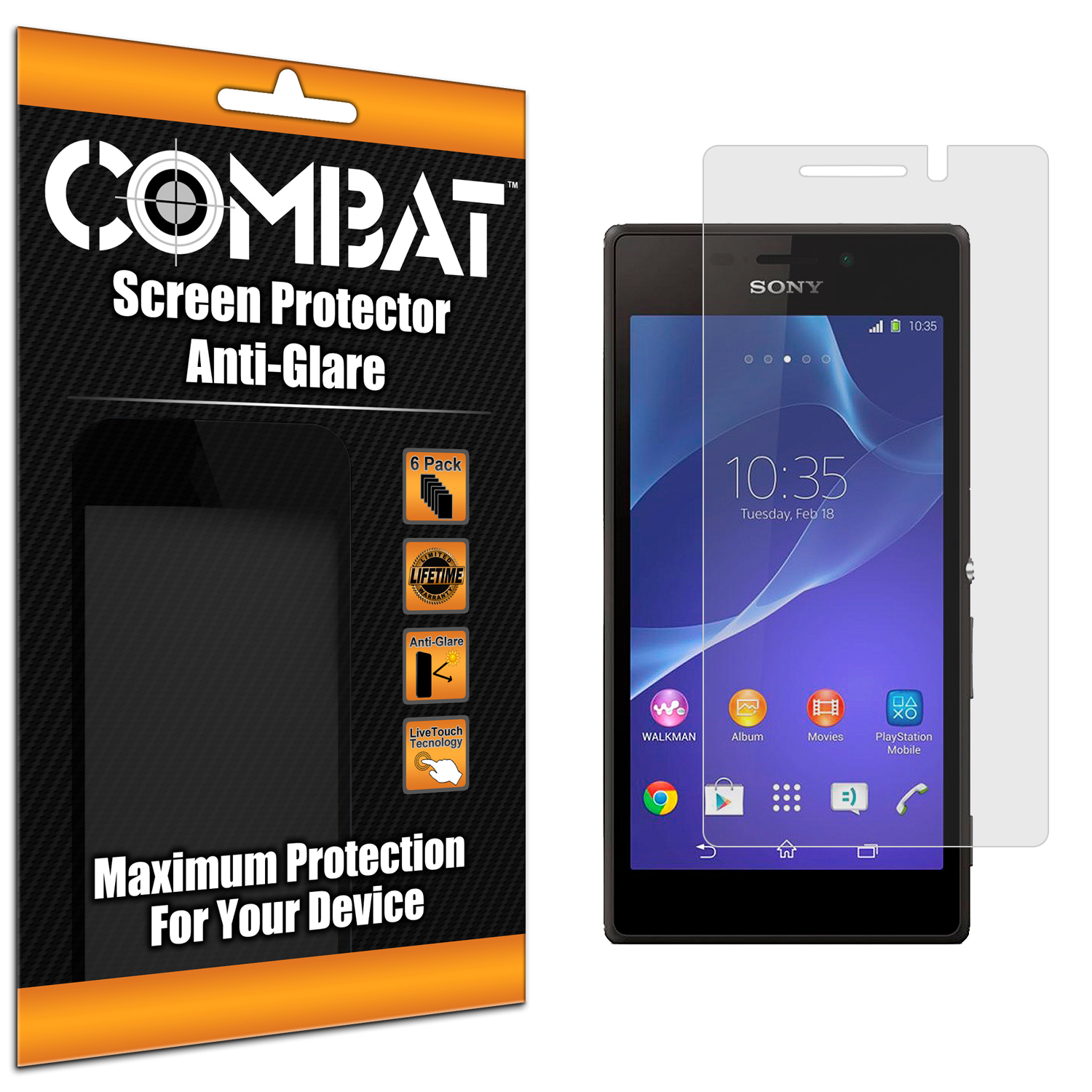 Sony Xperia M2 Combat 6 Pack Anti-Glare Matte Screen Protector