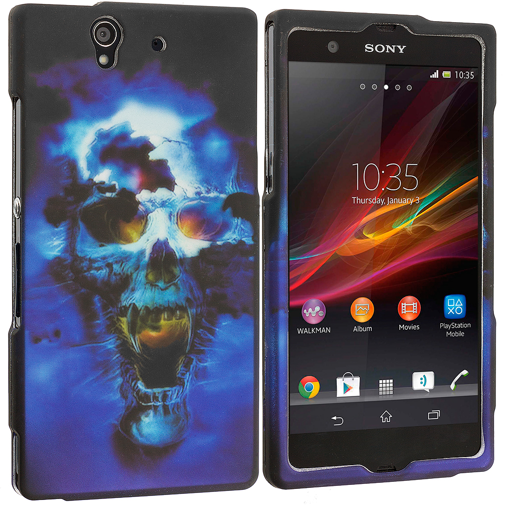 Sony Xperia Z Blue Skulls 2D Hard Rubberized Design Case Cover