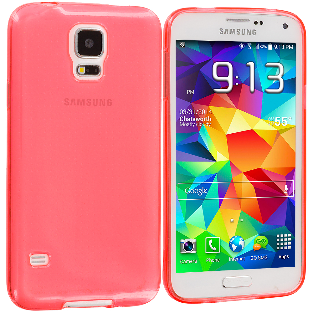 Samsung Galaxy S5 Peach TPU Rubber Skin Case Cover
