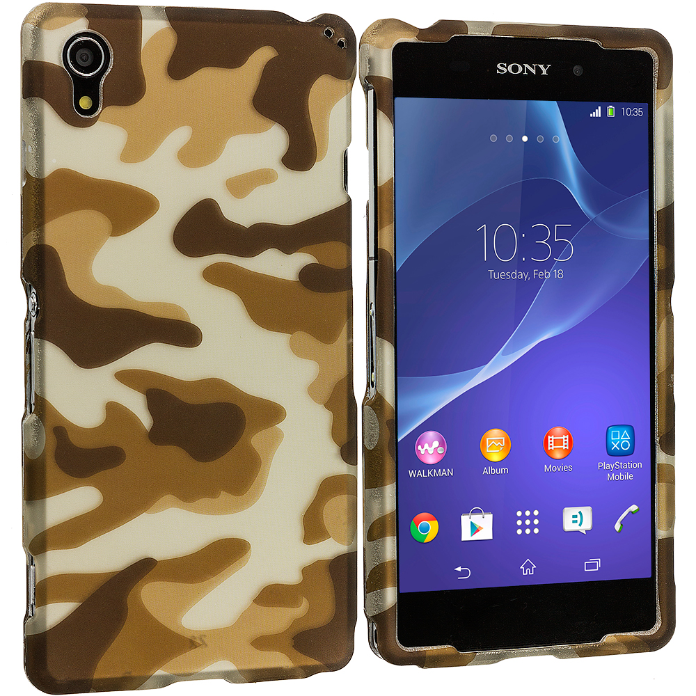 Sony Xperia Z2 Camo 2D Hard Rubberized Design Case Cover
