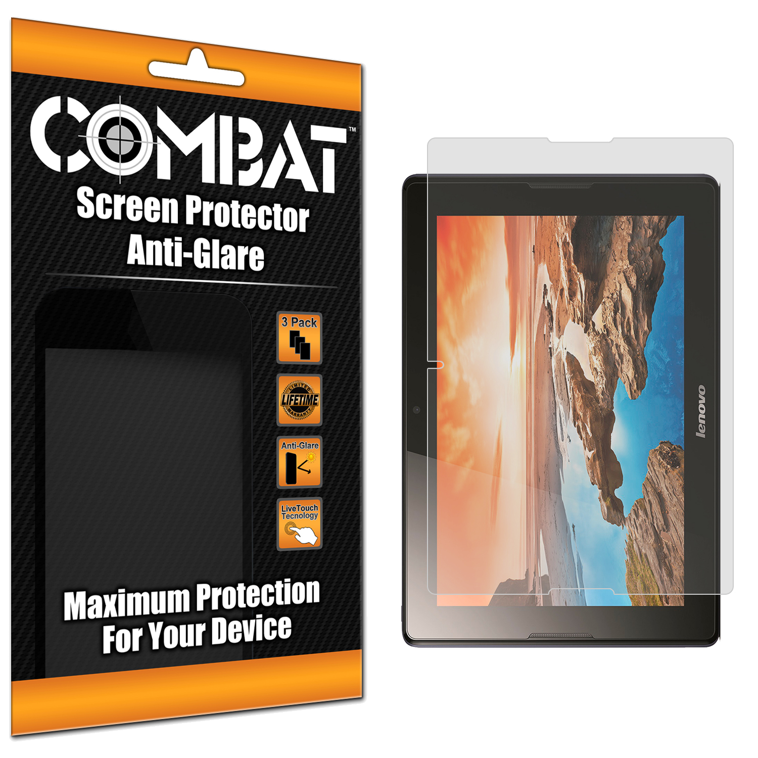 Lenovo Tab A10 Combat 3 Pack Anti-Glare Matte Screen Protector
