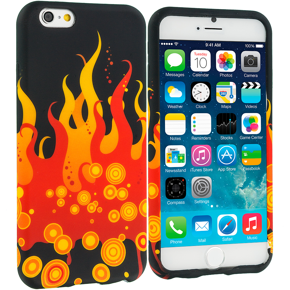Apple iPhone 6 6S (4.7) Red Flame TPU Design Soft Case Cover