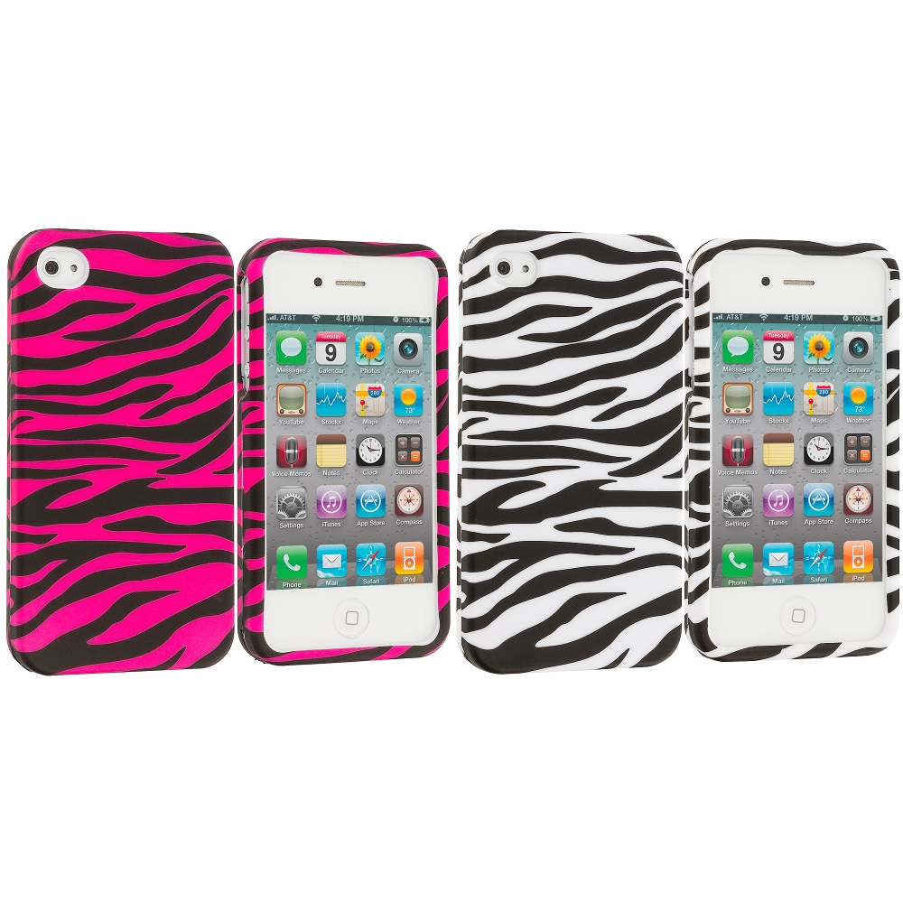 Apple iPhone 4 / 4S 2 in 1 Combo Bundle Pack - White / Hot Pink Zebra Hard Rubberized Design Case Cover