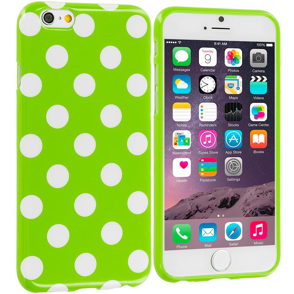 Apple iPhone 6 6S (4.7) Neon Green / White TPU Polka Dot Skin Case Cover