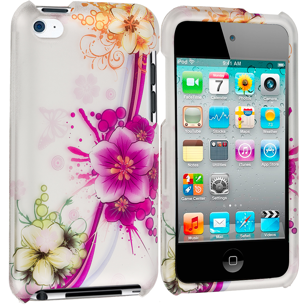 Apple iPod Touch 4th Generation Purple Flower Chain 2D Hard Rubberized Design Case Cover