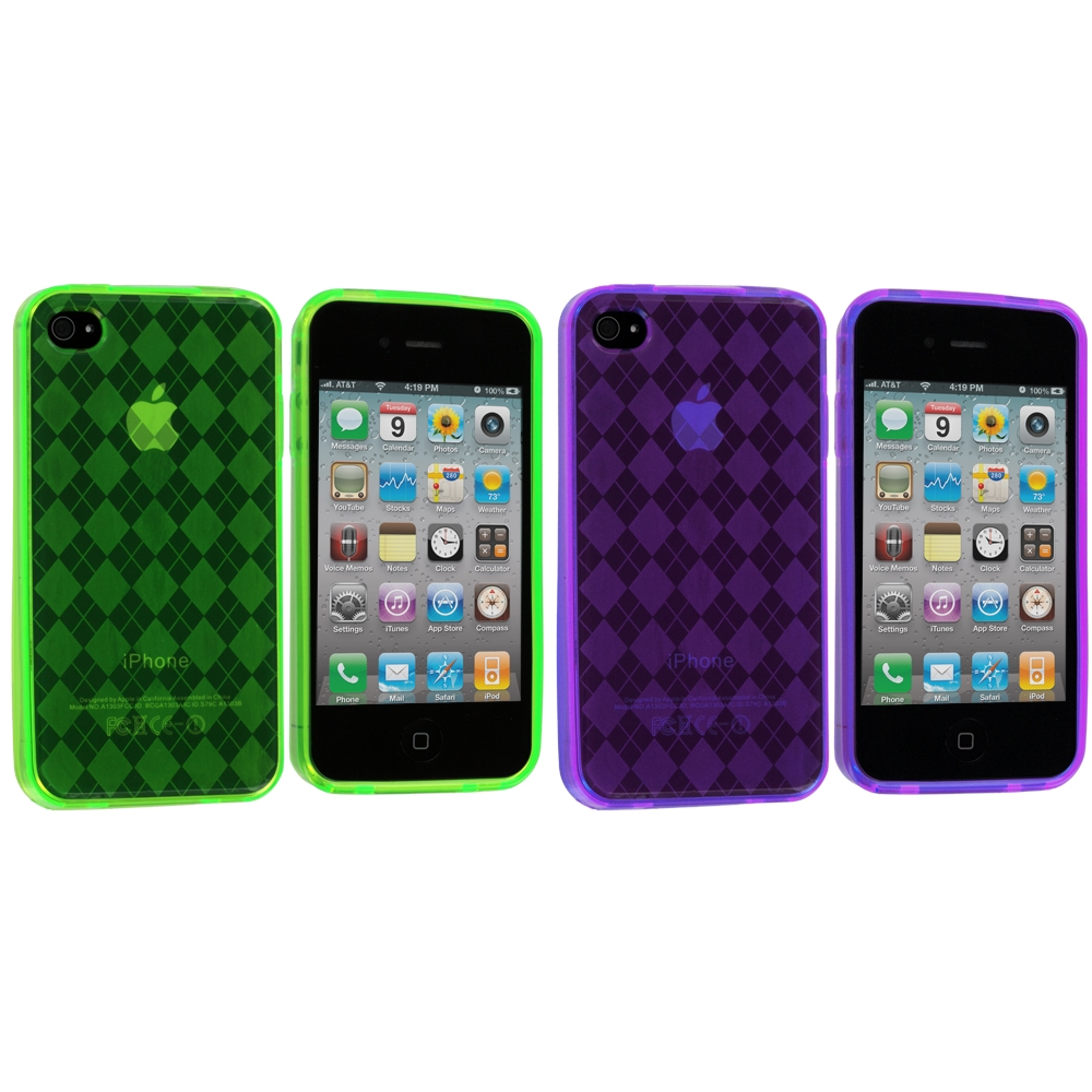 Apple iPhone 4 / 4S 2 in 1 Combo Bundle Pack - Green Purple Checkered TPU Rubber Skin Case Cover