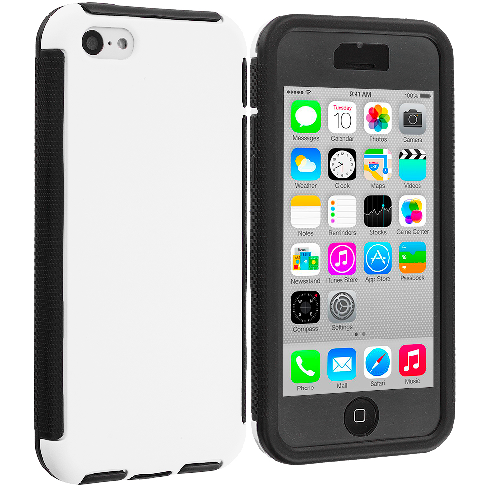 Apple iPhone 5C Black / White Hybrid Hard TPU Shockproof Case Cover With Built in Screen Protector