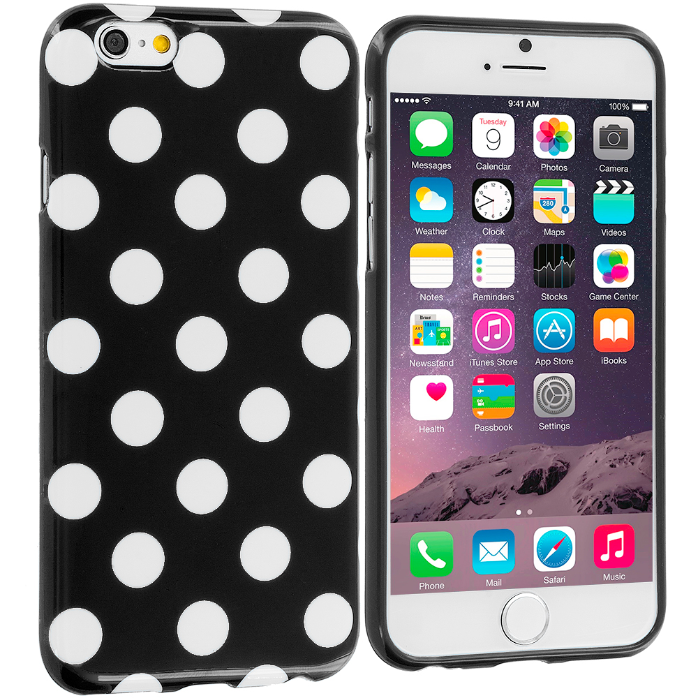 Apple iPhone 6 Plus 6S Plus (5.5) 4 in 1 Combo Bundle Pack - TPU Polka Dot Skin Case Cover : Color Black / White