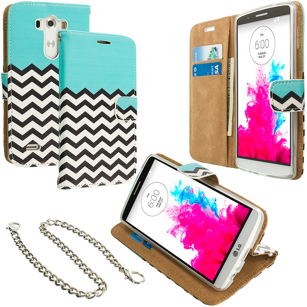 LG G3 Mint Green Zebra Leather Wallet Pouch Case Cover with Slots