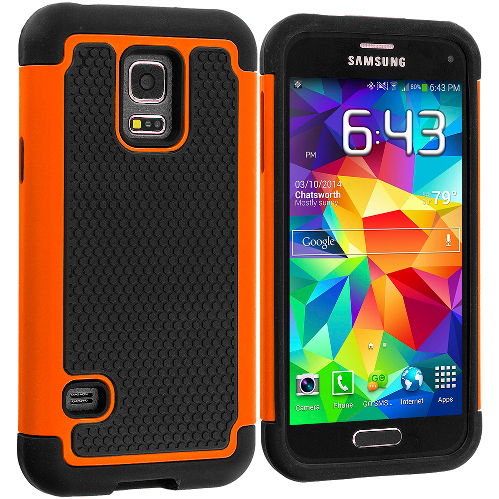 Samsung Galaxy S5 Mini G800 Black / Orange Hybrid Rugged Grip Shockproof Case Cover