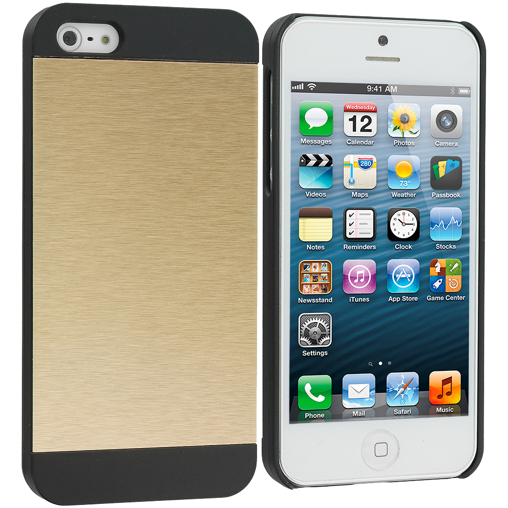 Apple iPhone 5/5S/SE Combo Pack : Gold / Black Hybrid Luxury Aluminum Hard Case Cover : Color Gold / Black