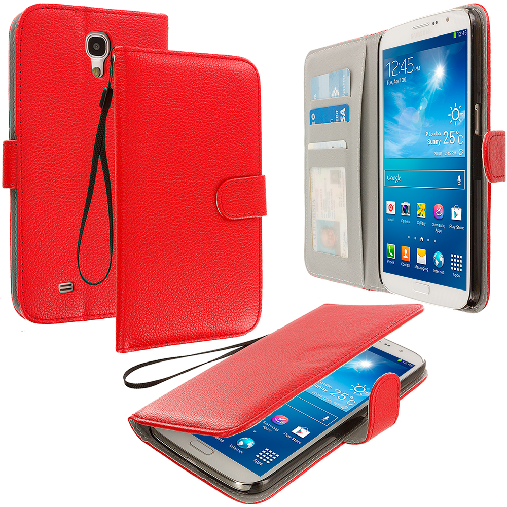 Samsung Galaxy Mega 6.3 Red Leather Wallet Pouch Case Cover with Slots