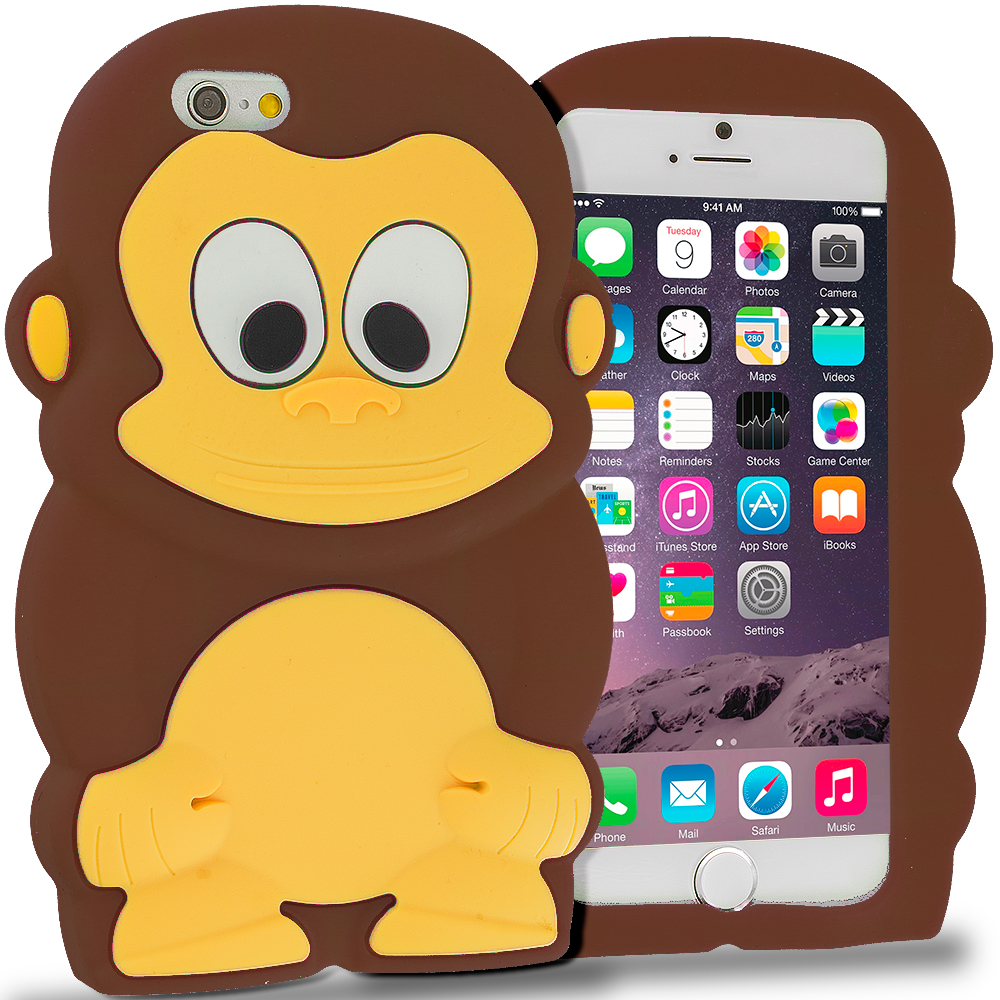 Apple iPhone 6 6S (4.7) Brown Monkey Silicone Design Soft Skin Case Cover