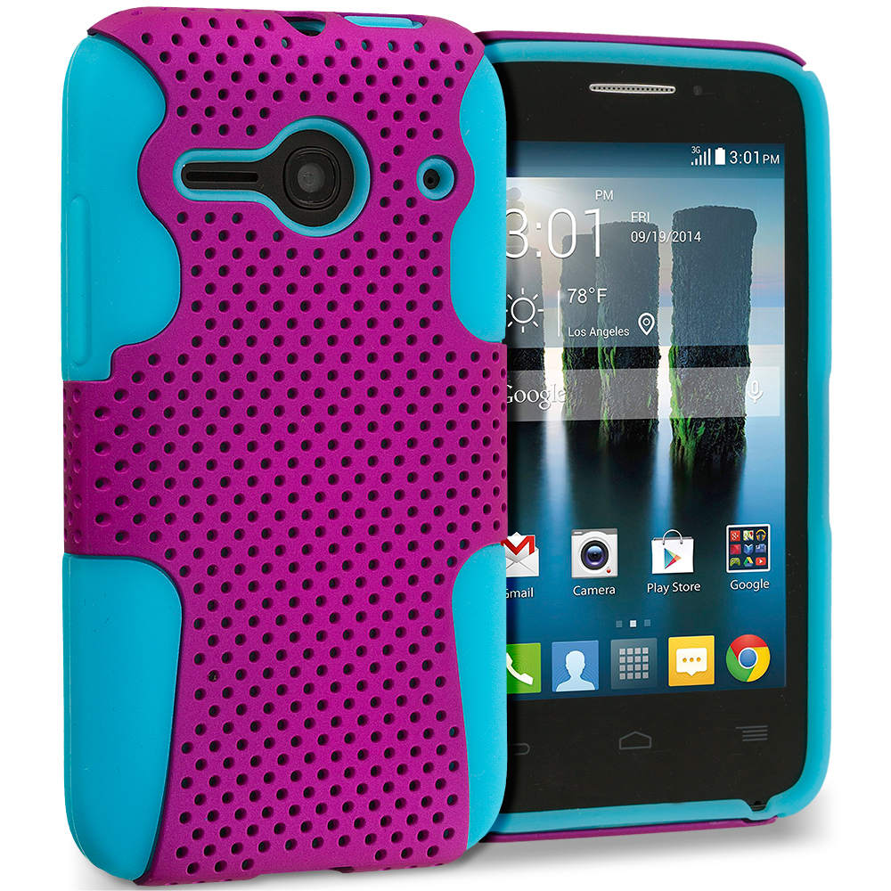 Alcatel One Touch Evolve 2 Baby Blue / Hot Pink Hybrid Mesh Hard/Soft Case Cover