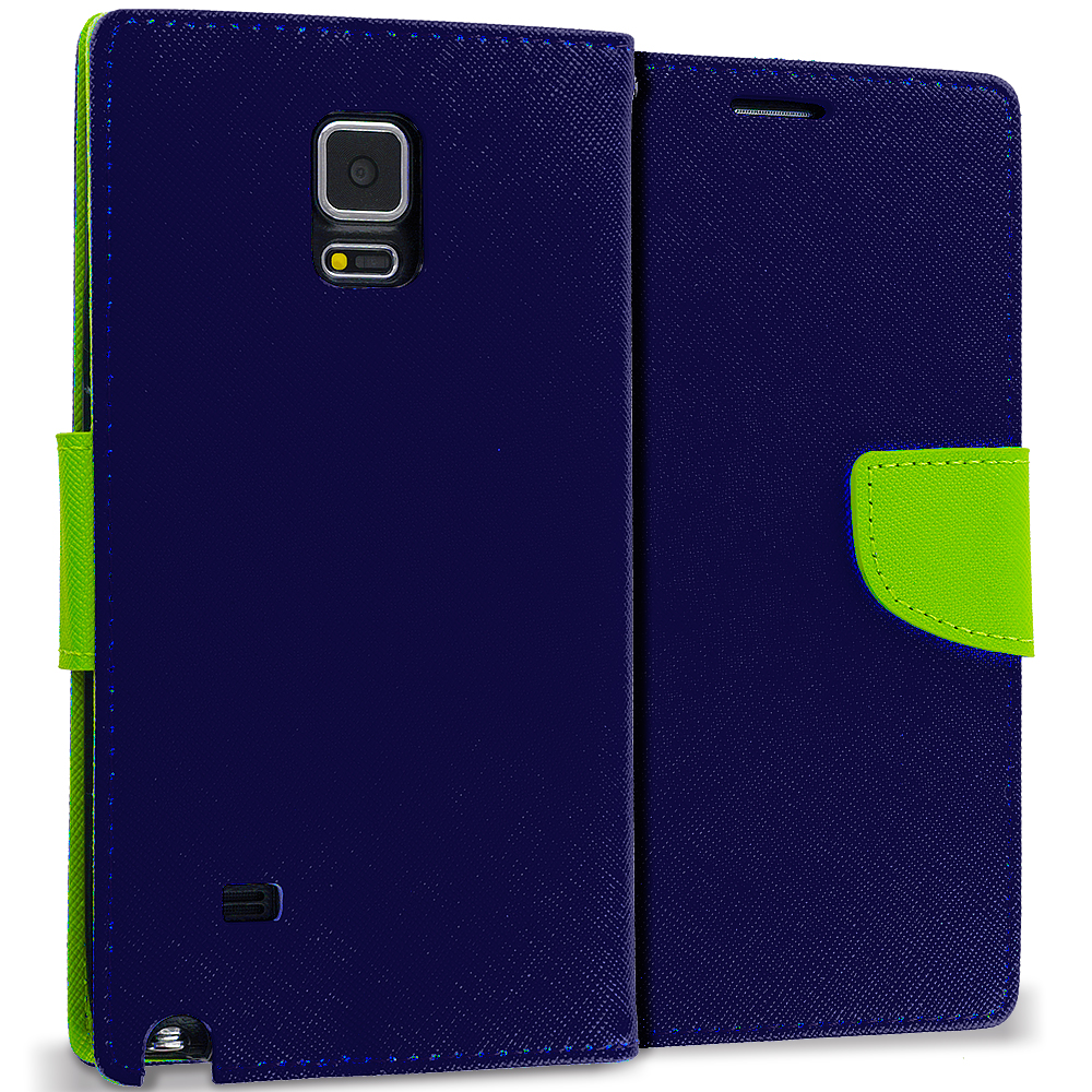 Samsung Galaxy Note 4 Navy Blue / Neon Green Leather Flip Wallet Pouch TPU Case Cover with ID Card Slots