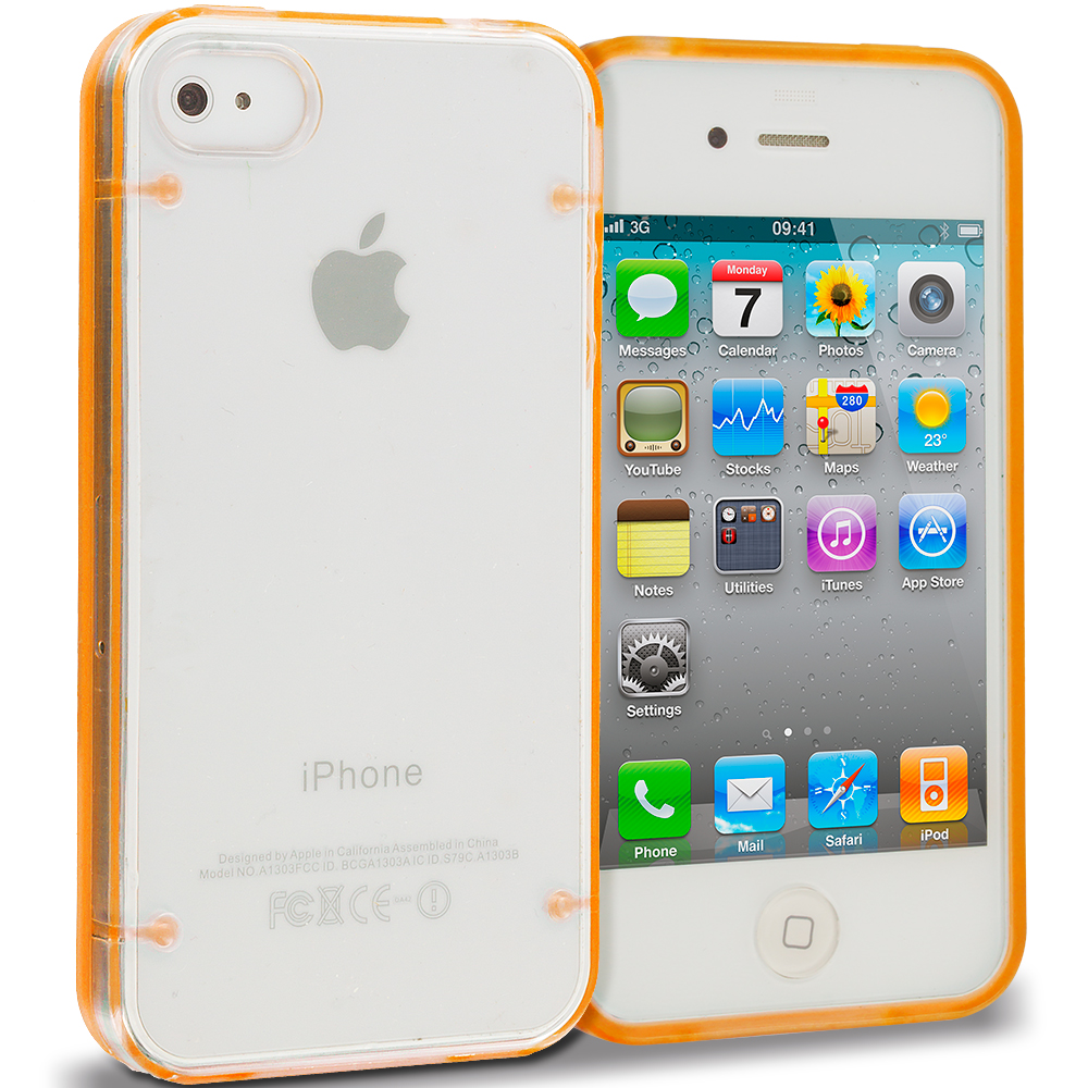 Apple iPhone 4 / 4S 2 in 1 Combo Bundle Pack - Pink Gold Crystal Robot Hard TPU Case Cover : Color Orange
