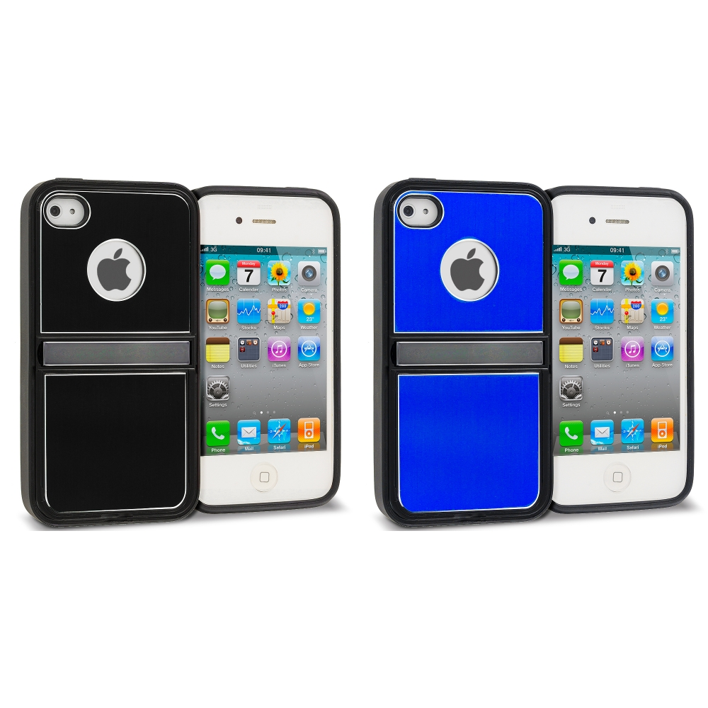 Apple iPhone 4 / 4S 2 in 1 Combo Bundle Pack - Black Blue Brushed Stand Aluminum Metal Hard Case Cover