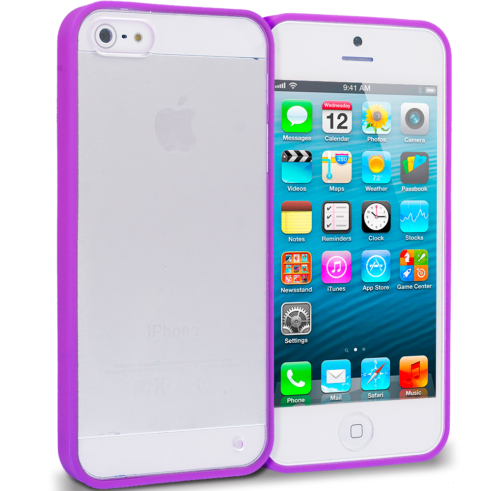 Apple iPhone 5/5S/SE Combo Pack : Hot Pink TPU Plastic Hybrid Case Cover : Color Purple