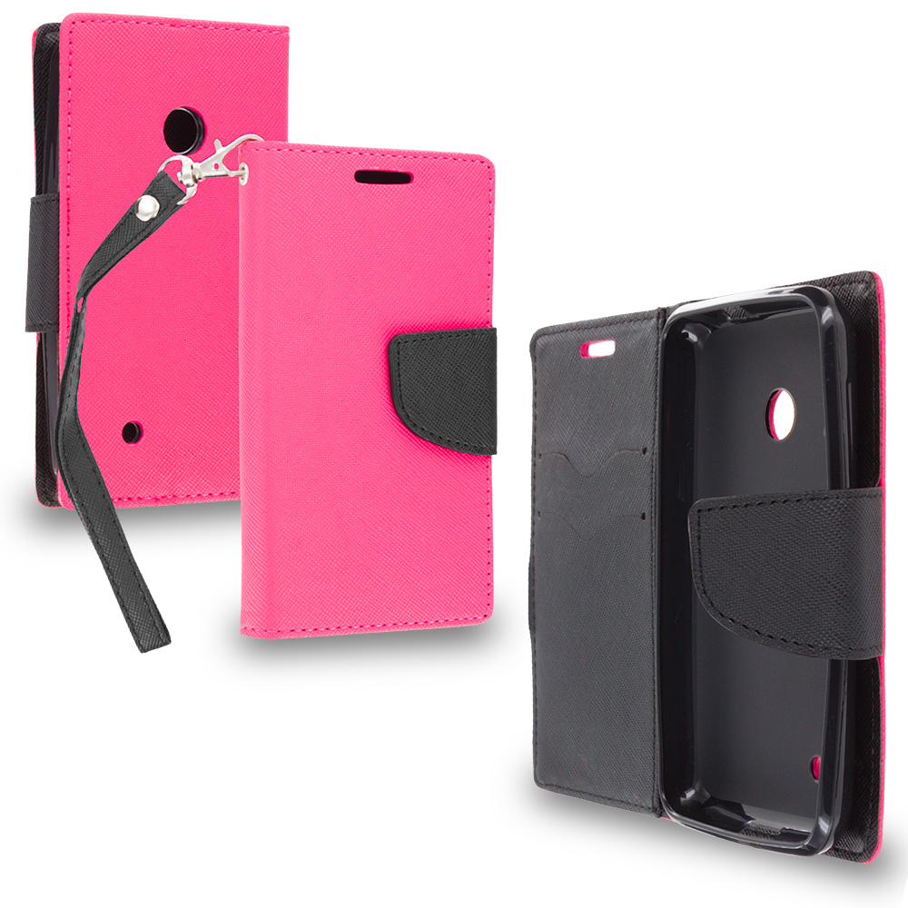 Nokia Lumia 530 Hot Pink / Black Leather Flip Wallet Pouch TPU Case Cover with ID Card Slots
