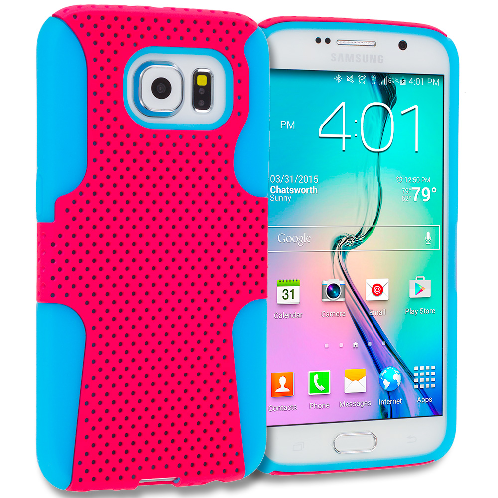 Samsung Galaxy S6 Combo Pack : Baby Blue / Hot Pink Hybrid Mesh Hard/Soft Case Cover : Color Baby Blue / Hot Pink