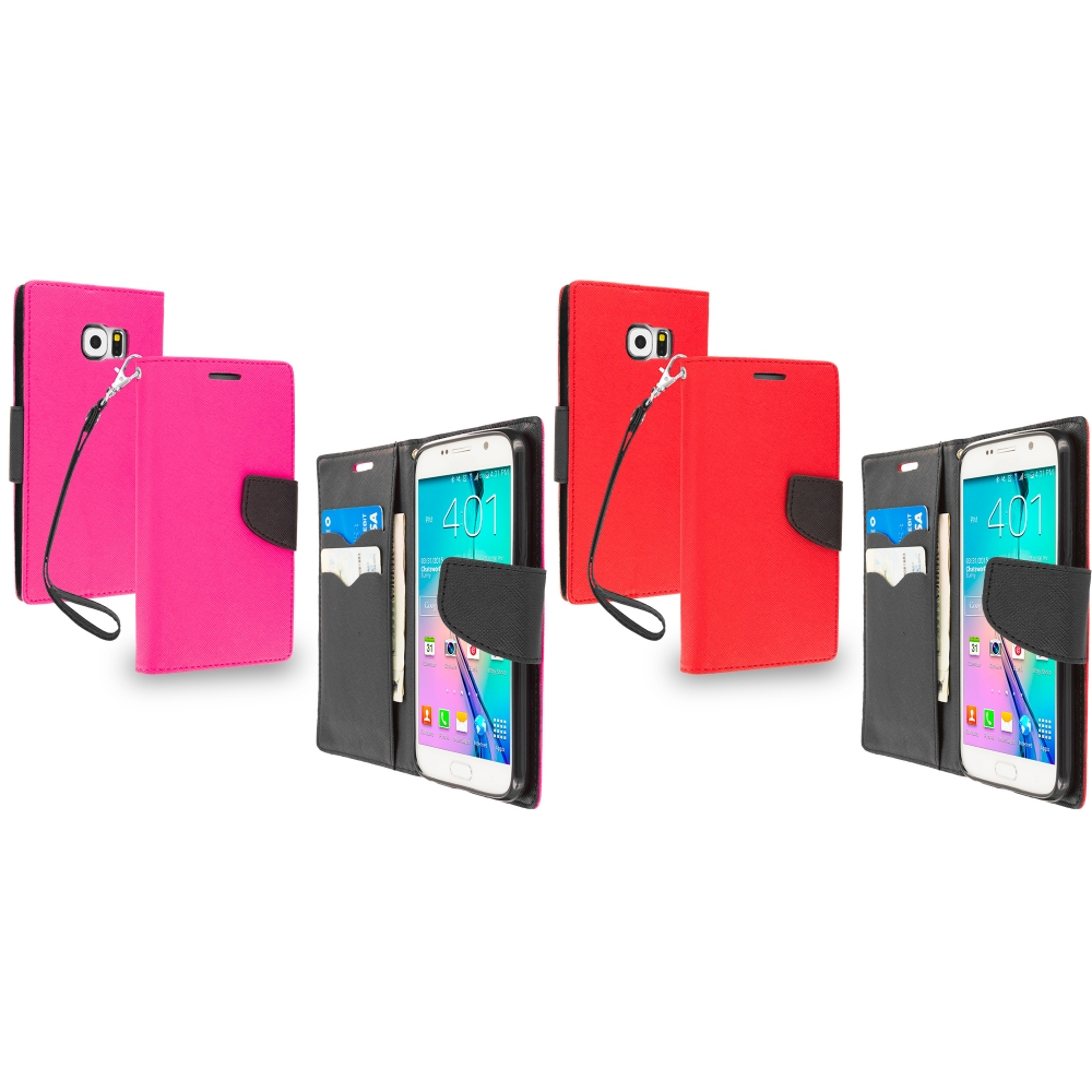 Samsung Galaxy S6 Combo Pack : Hot Pink / Black Leather Flip Wallet Pouch TPU Case Cover with ID Card Slots