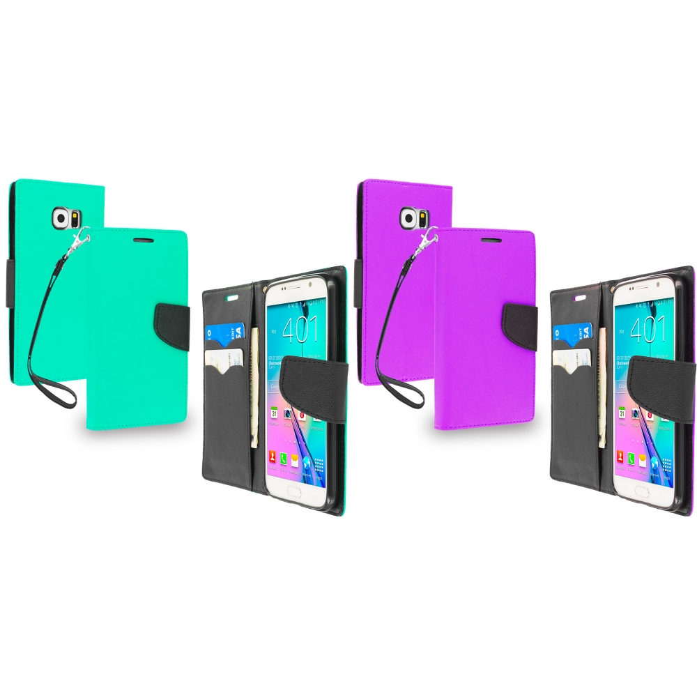 Samsung Galaxy S6 2 in 1 Combo Bundle Pack - Leather Flip Wallet Pouch TPU Case Cover with ID Card Slots