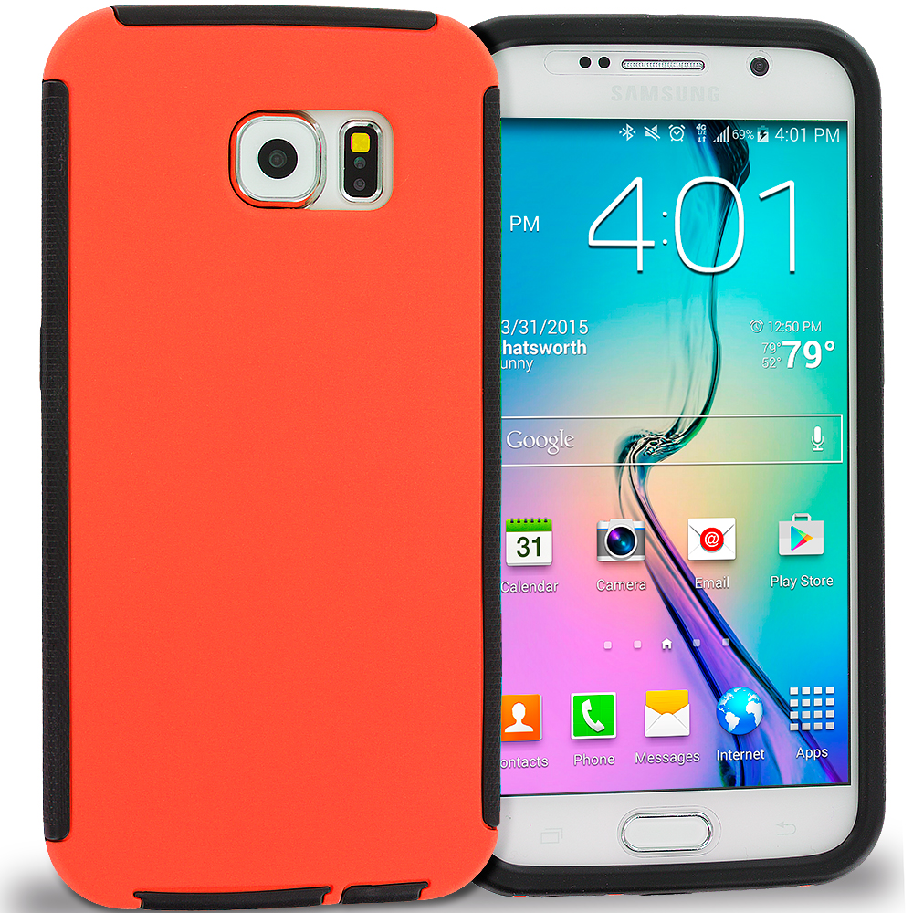 Samsung Galaxy S6 Black / Orange Hybrid Hard TPU Shockproof Case Cover With Built in Screen Protector