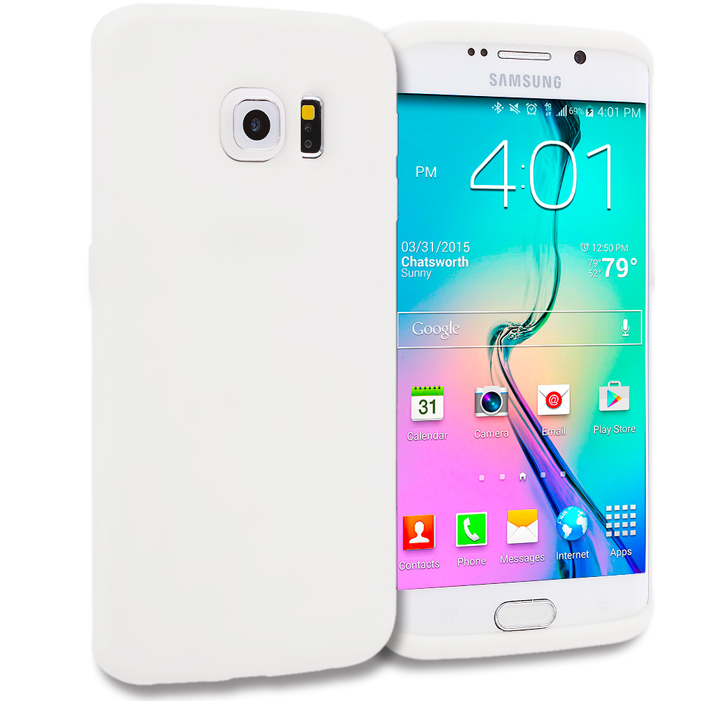 Samsung Galaxy S6 Edge White Silicone Soft Skin Rubber Case Cover