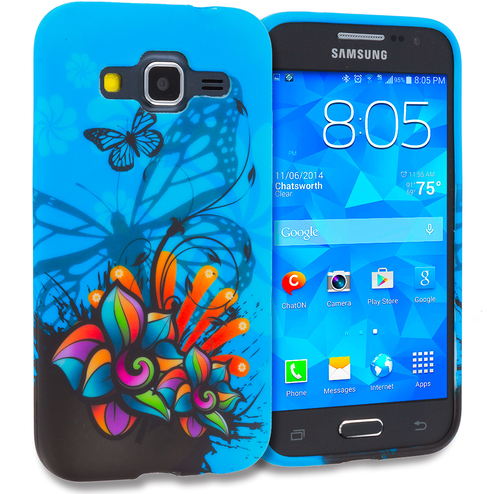 Samsung Galaxy Prevail LTE Core Prime G360P Blue Butterfly Flower TPU Design Soft Rubber Case Cover